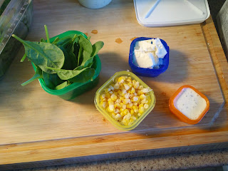 Portion Fix Colour Coded Containers demonstrating one meal of spinach, corn and feta cheese in correct portions.