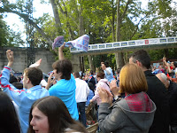 Pantalla gigante en Castelos (Vigo) para el partido entre Celta y Nastic