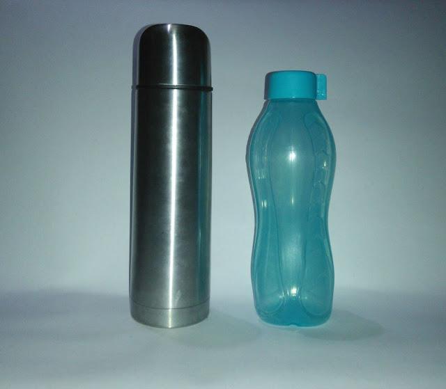 aluminium and plastic water bottle