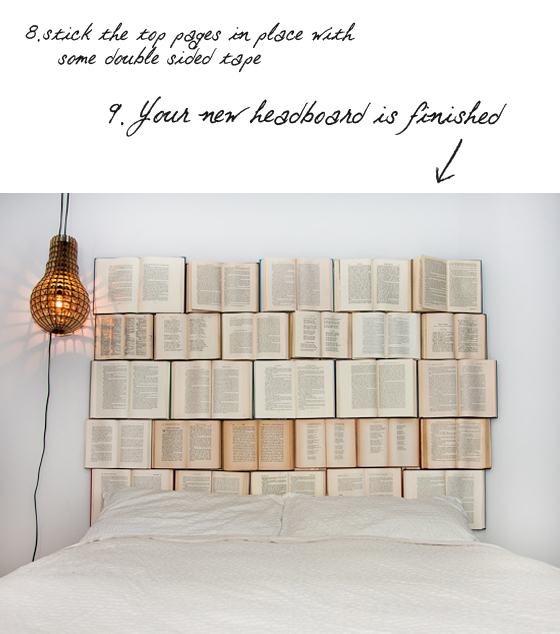 Zagłówek z książek DIY pomysł na sypialnię tutorial Eco manufaktura