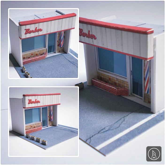 Barbershop Papercraft Diorama