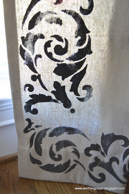Stenciling detail on drop clothe draperies via Worthing Court blog
