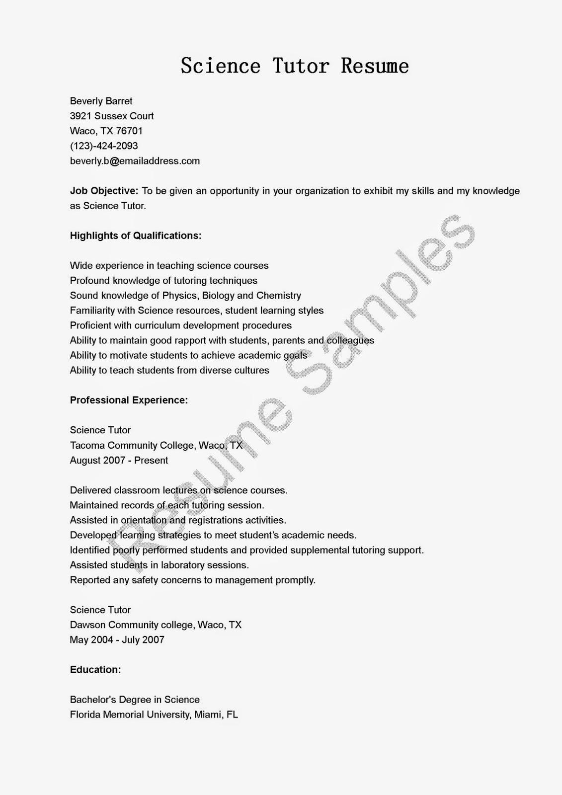 resume samples  science tutor resume sample