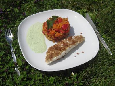 Zander auf Paprika-Karotten-Linsen mit Brennnesselcreme
