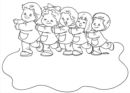 Dibujo Ni  Os En Fila Para Colorear