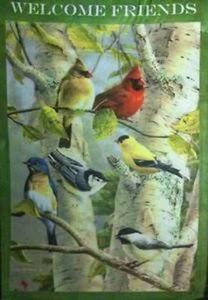 birds on a birch tree garden flag