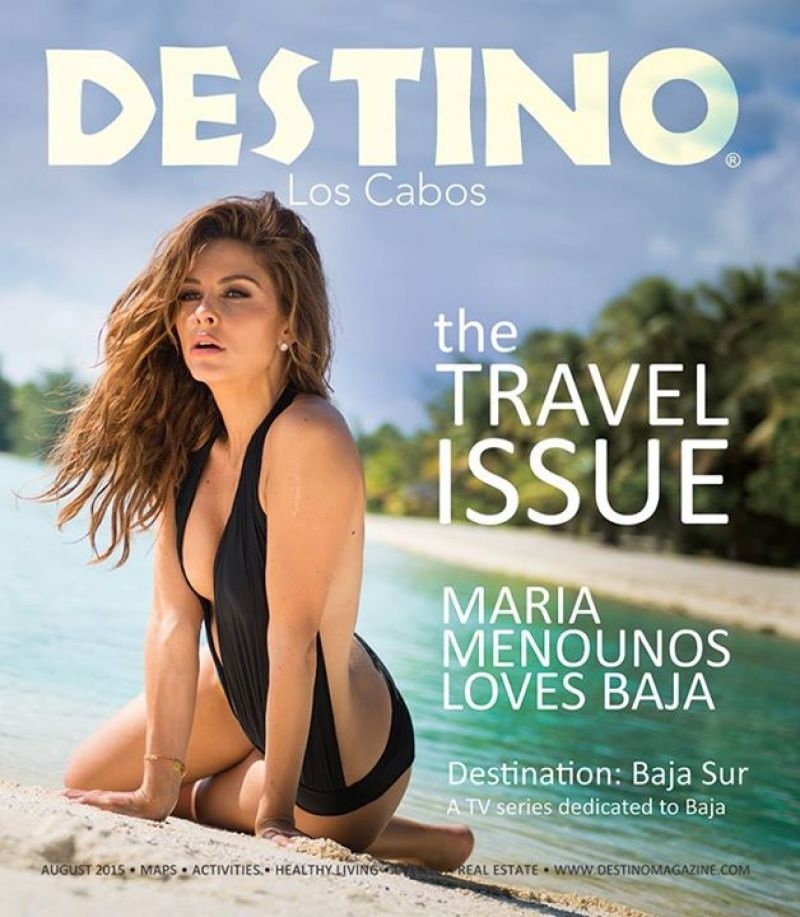 Maria Menounos bares curves in a plunging monokini for Destino August 2015