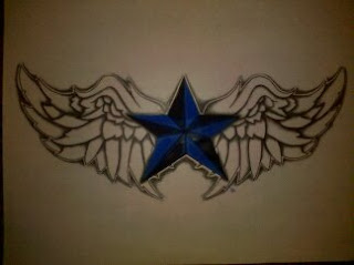 Nautical Star Winged Tattoo