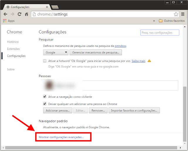 Google Chrome - Configurações Avançadas
