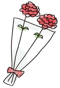 カーネーションの花束のイラスト(母の日)