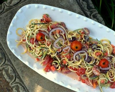 Spiral Zucchini Noodle Zoodle Greek Salad ~ AVeggieVenture.com
