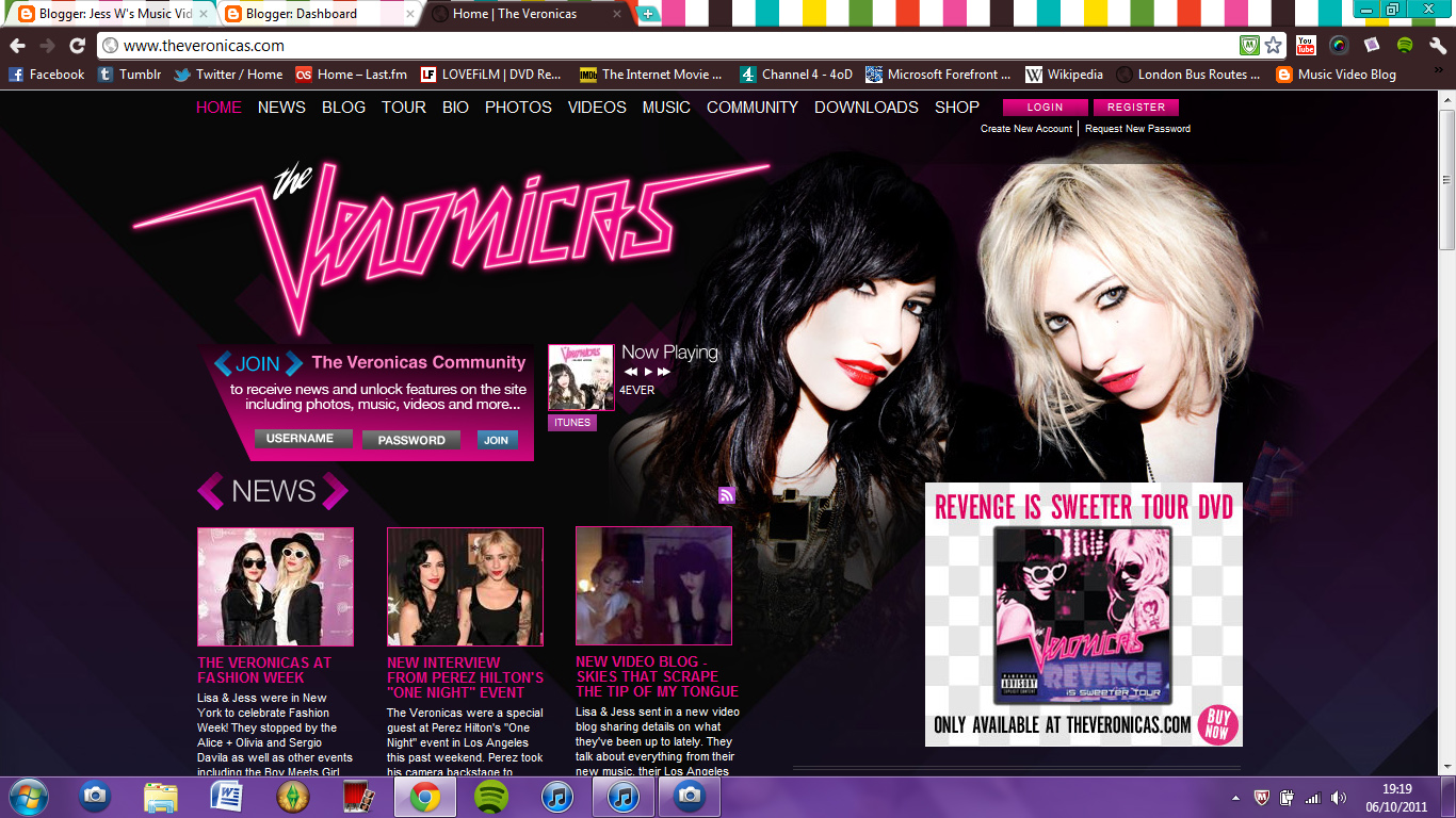 When starting to create our website, the first thing we did as a group was look at real artists' websites (such as The Veronicas, a fellow girl band) to ...