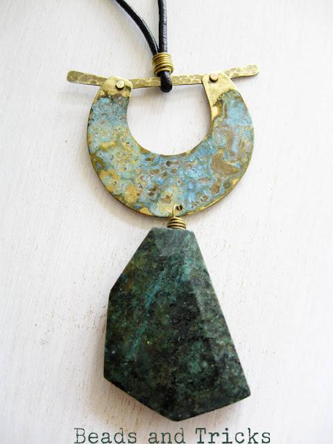 Collana ottone turchese