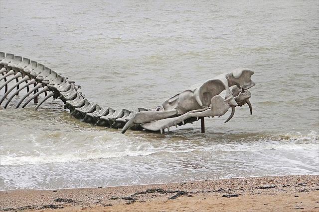 Un gigante esqueleto de serpiente torciendose emerge del río Loira, en Francia