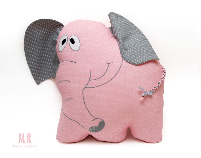 Слон. Подушка. Игрушки ручной работы. Марина Рослякова. О снах и розовых слонах. Marina Roslyakova. Hand made toys