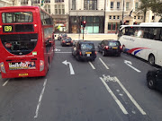 Cycle lane near Trafalgar Square, design courtesy. City of Westminster.