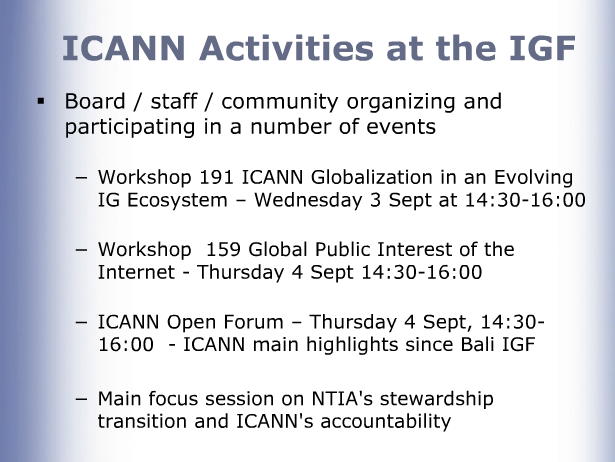 ICANN activities at IGF 2014 graphic