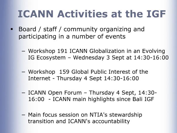 ICANN activities at IGF 2014 graphic