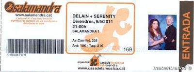 entrada de concierto de delain