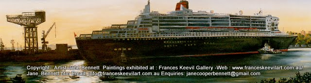 plein air oil painting of the 'Queen Mary' docking at Garden Island by artist Jane Bennett