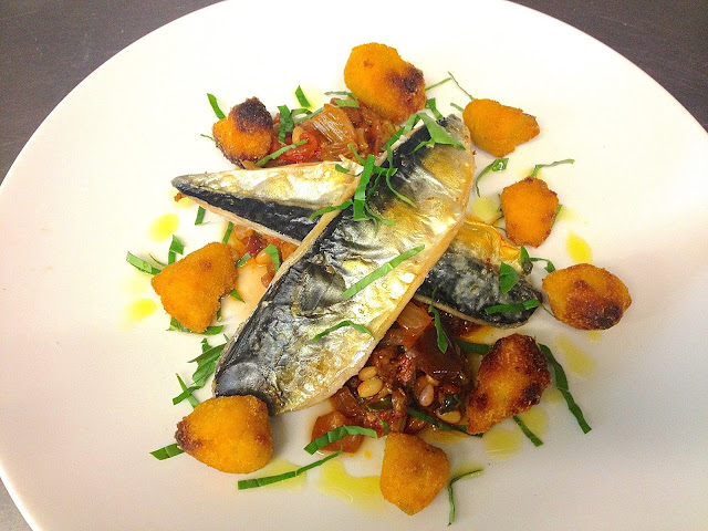... cocina: Grilled South Coast Mackerel, Caponata, Rosemary Polenta Chips