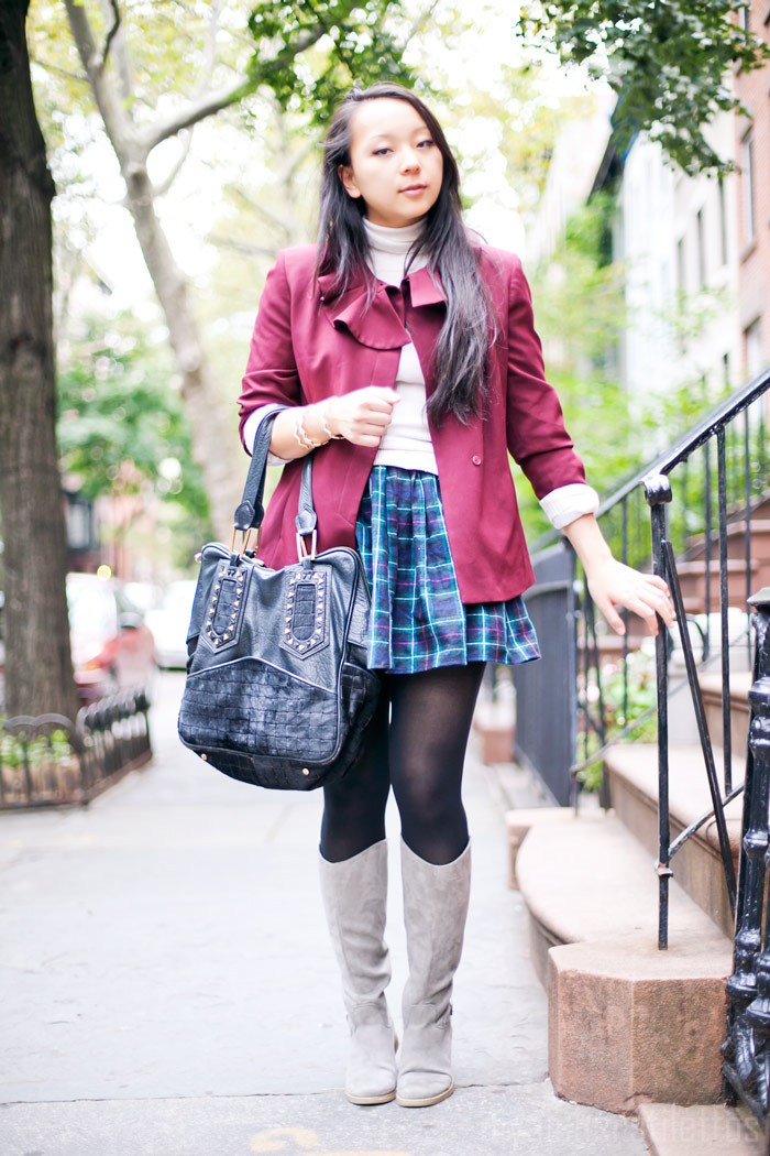 american apparel plaid full woven skirt, turtleneck sweater, ruffled maroon blazer, tall old navy boots, fall fashion, new york, diya liu