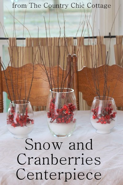 Snow and Cranberries Centerpiece -- a lovely addition to your holiday table and so easy to make.  Come get my secrets for making your branches sparkle.