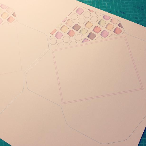 レターセットの封筒の展開図が印刷されたもの。