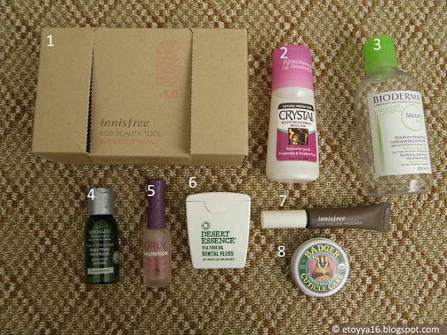 Innisfree, Crystal, Bioderma, Andalou Naturals, Orly, Dessert Essence, Badger Balm