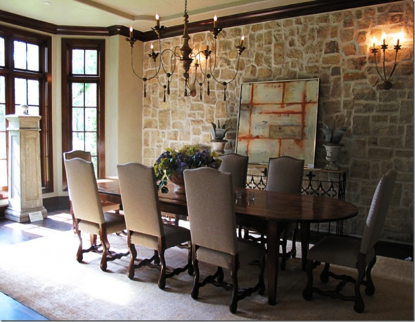 Design comedor hermoso : Interiores con Paredes de Piedra para Embellecer tu Hogar ...