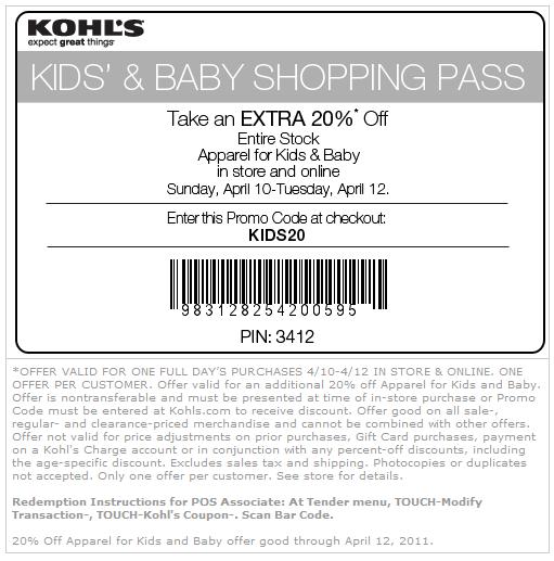Kohls coupon printable 20 off