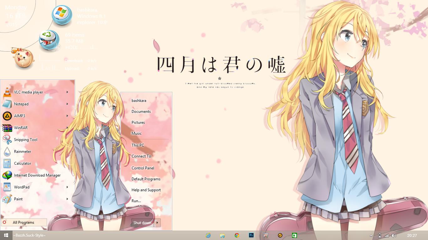 Gmail themes anime -  Theme Win8 8 1 Shigatsu Wa Kimi No Uso By Bashkara