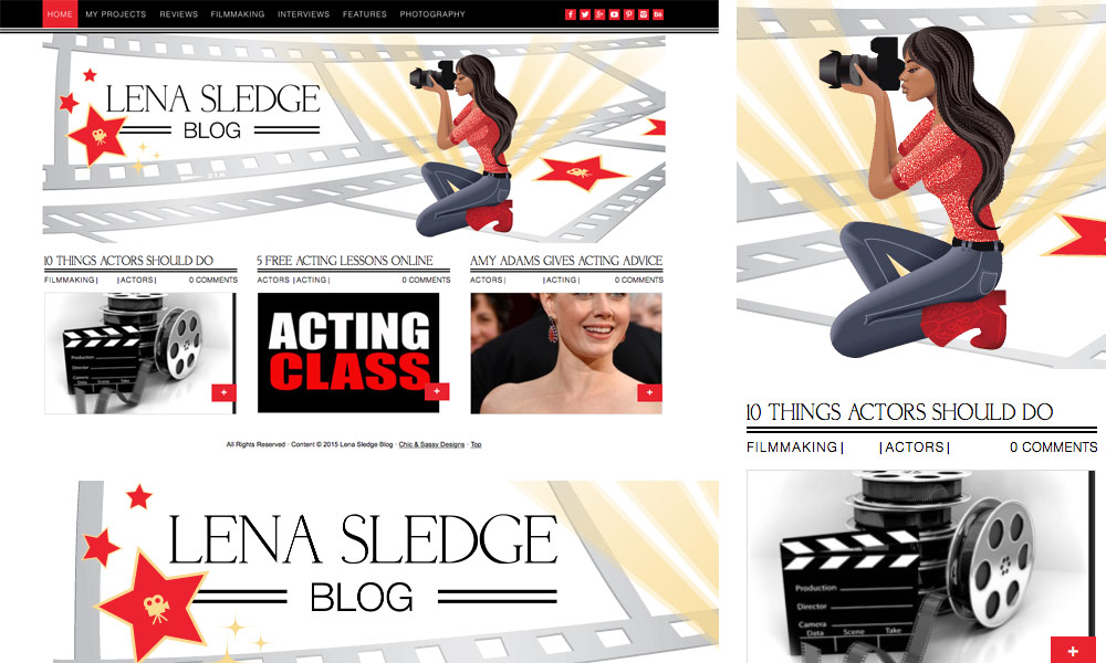 Lena Sledge movie blog template design illustration hollywood