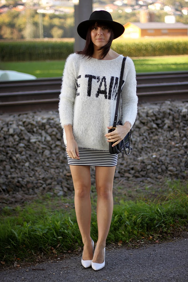 outfit trend fashionblogger forever21 streifen rock pullover jumper wedges mango weste vintage 05