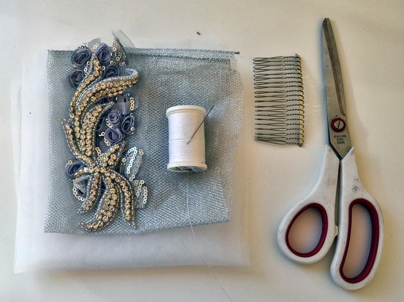 Shine Trim Wedding DIY Tulle Flower Hair Comb