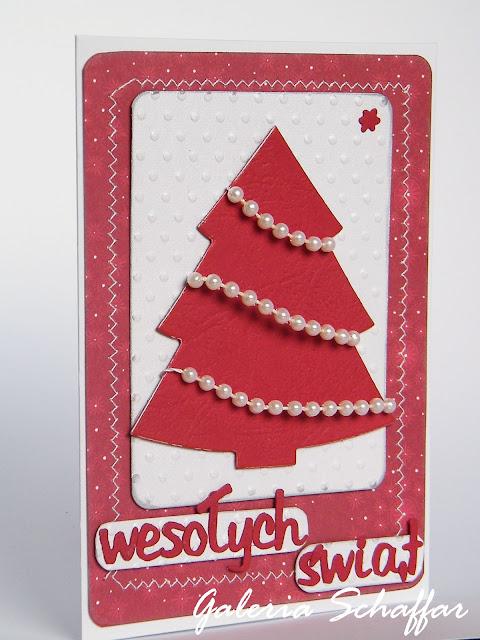 ręcznie robiona zdobna świąteczna kartka wykrojnik choinki marianne design wykrojnik alfabet