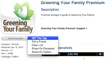 Image of gifting an app in iTunes