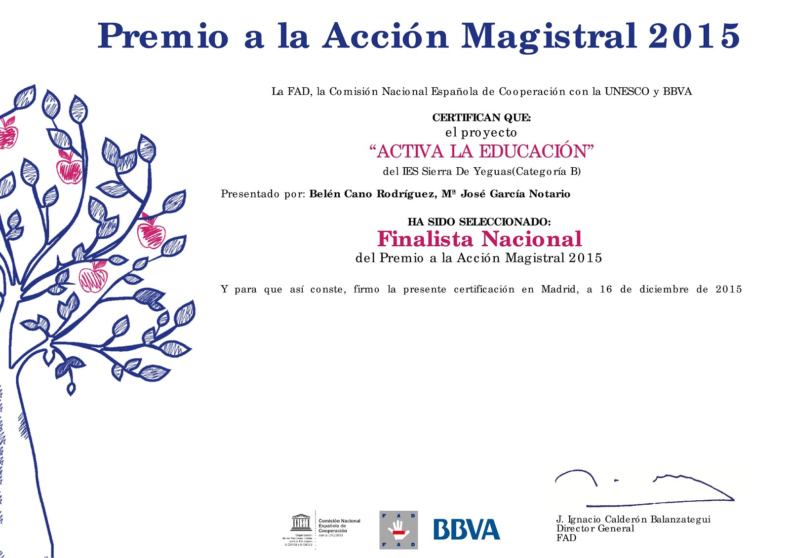 Finalista Nacional Premio FAD