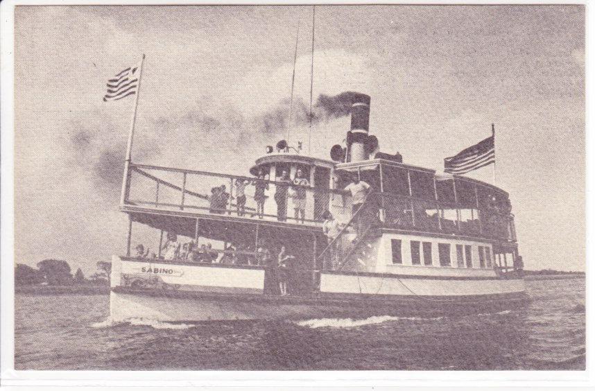 postcard, sabino, merrimack river, newburyport, salisbury, steamboat