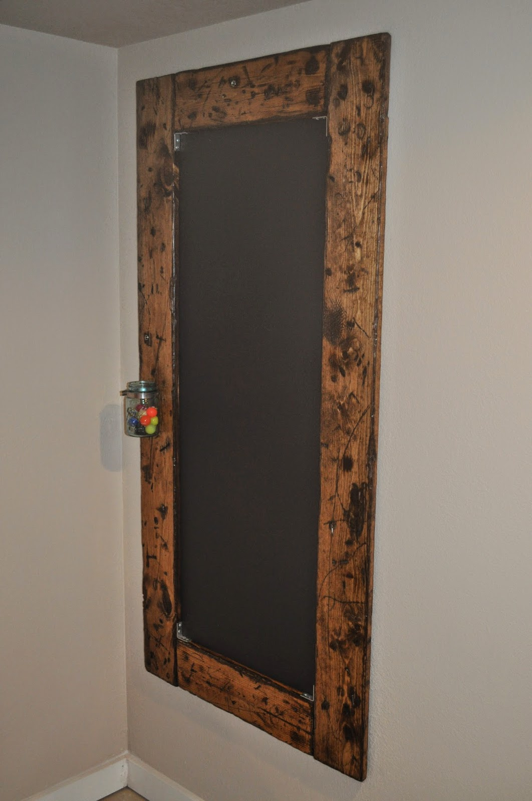 diy, do it yourself, chalkboard, distressed, industrial, design, basement, project, nuts, bolts, mason jar, chalkboard paint, paint