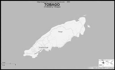 Mapa de TOBAGO, relieve, TRINIDAD Y TOBAGO, blanco y negro