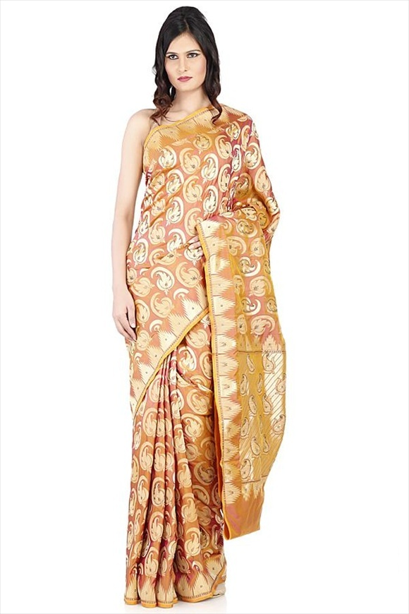 Persian Brown Kattan Silk Banarasi Saree
