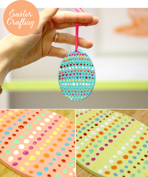 Leaff design blog easter craft project hanging wooden for Wooden eggs for crafts