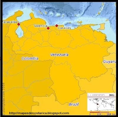 Mapa de VENEZUELA, (planiglobe)