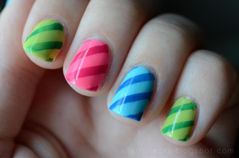 Diagonal Stripe Tape Mani - Nail Art