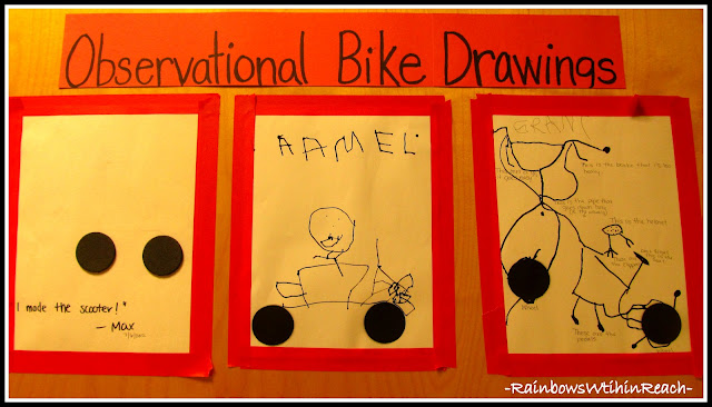 photo of: RainbowsWithinReach: Observational Drawings of Bikes with Young Children