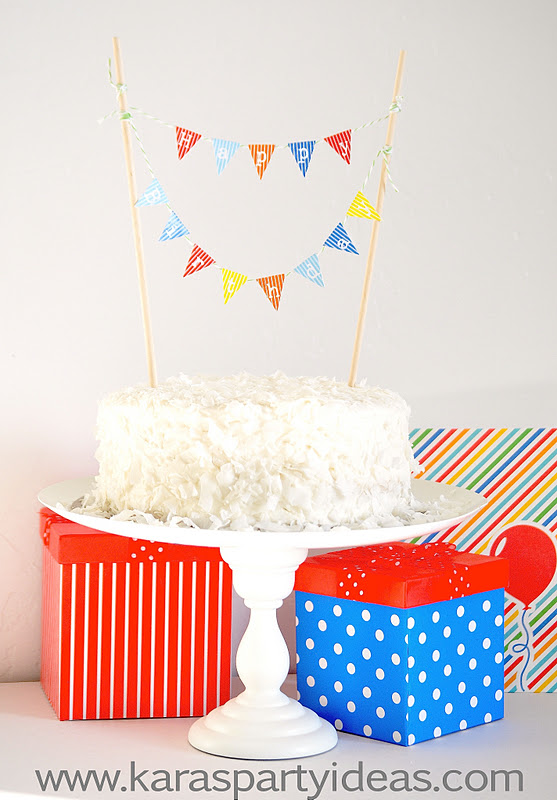 kara s party ideas free mini cake pennant bunting for on cake happy birthday banner