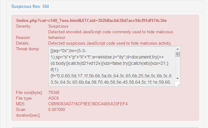 Malicious JavaScript detected in 504 website pages