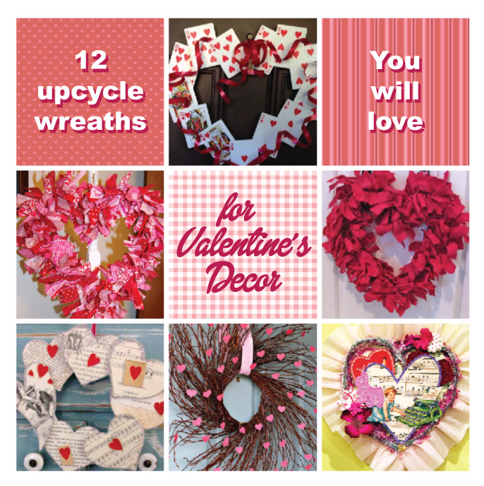 Valentines craft wreaths that are Green.  Recycle and upcycle diy wreath ideas you will love!