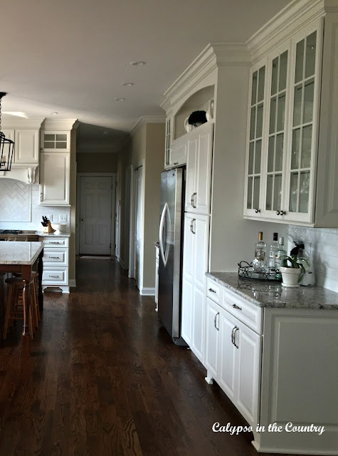 White Kitchen - side view of refrigerator wall